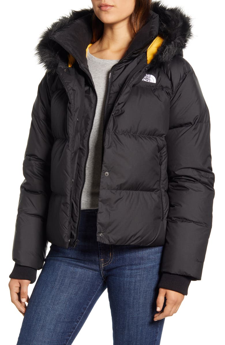 THE NORTH FACE Dealio 550 Fill Power Crop Hooded Down Jacket, Main, color, TNF BLACK/ TNF YELLOW