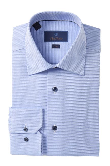 Image of David Donahue Trim Fit Patterned Dress Shirt