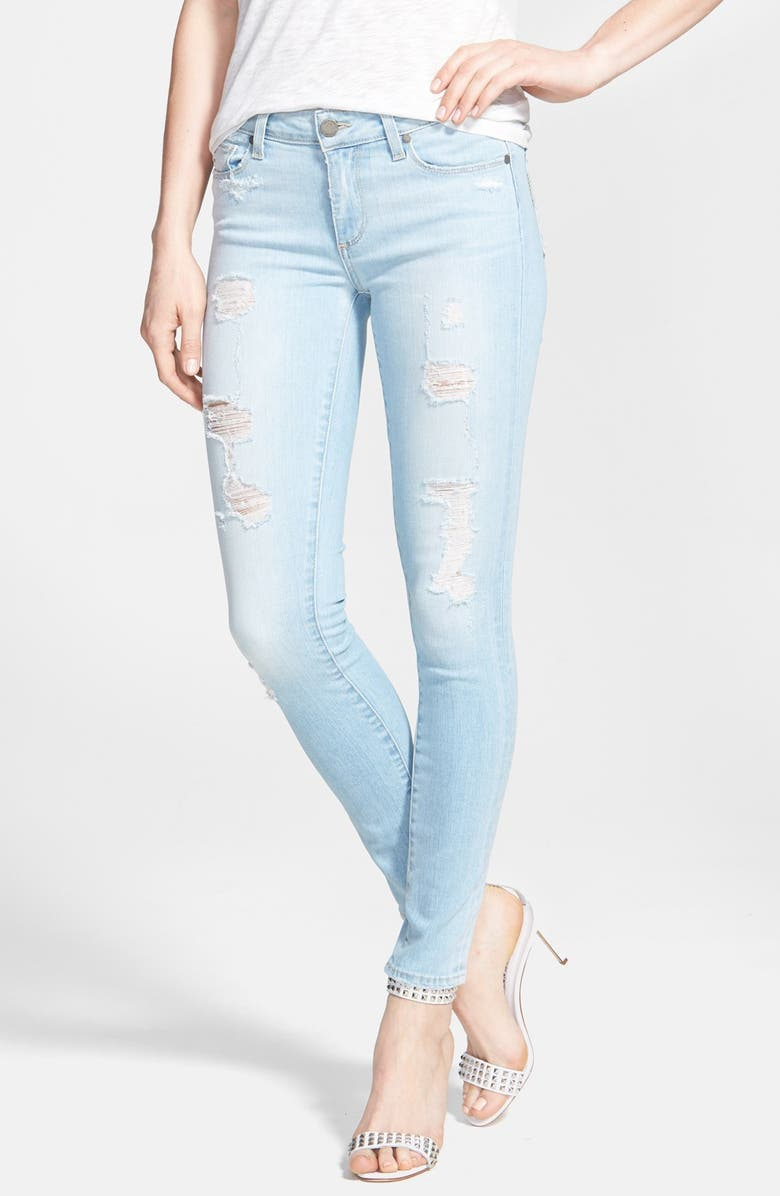 PAIGE Denim 'Verdugo' Destroyed Crop Skinny Jeans, Main, color, 400