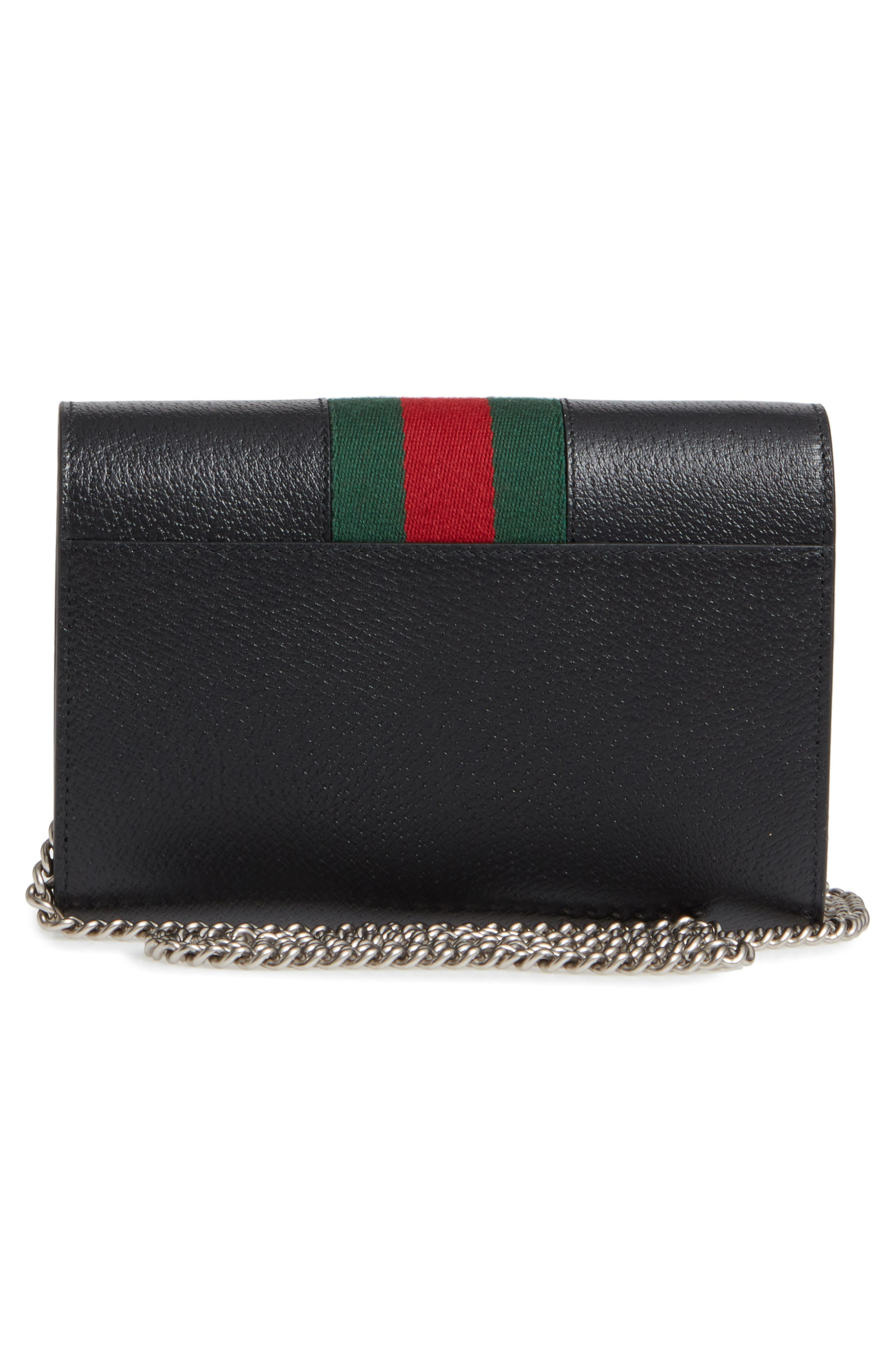 ,                             Dionysus Web Stripe Leather Wallet on a Chain,                             Alternate thumbnail 3, color,                             BLACK/ VERT RED VERT
