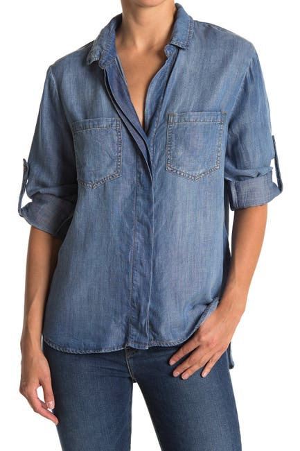 Image of Cloth & Stone Split Back Button Front Top
