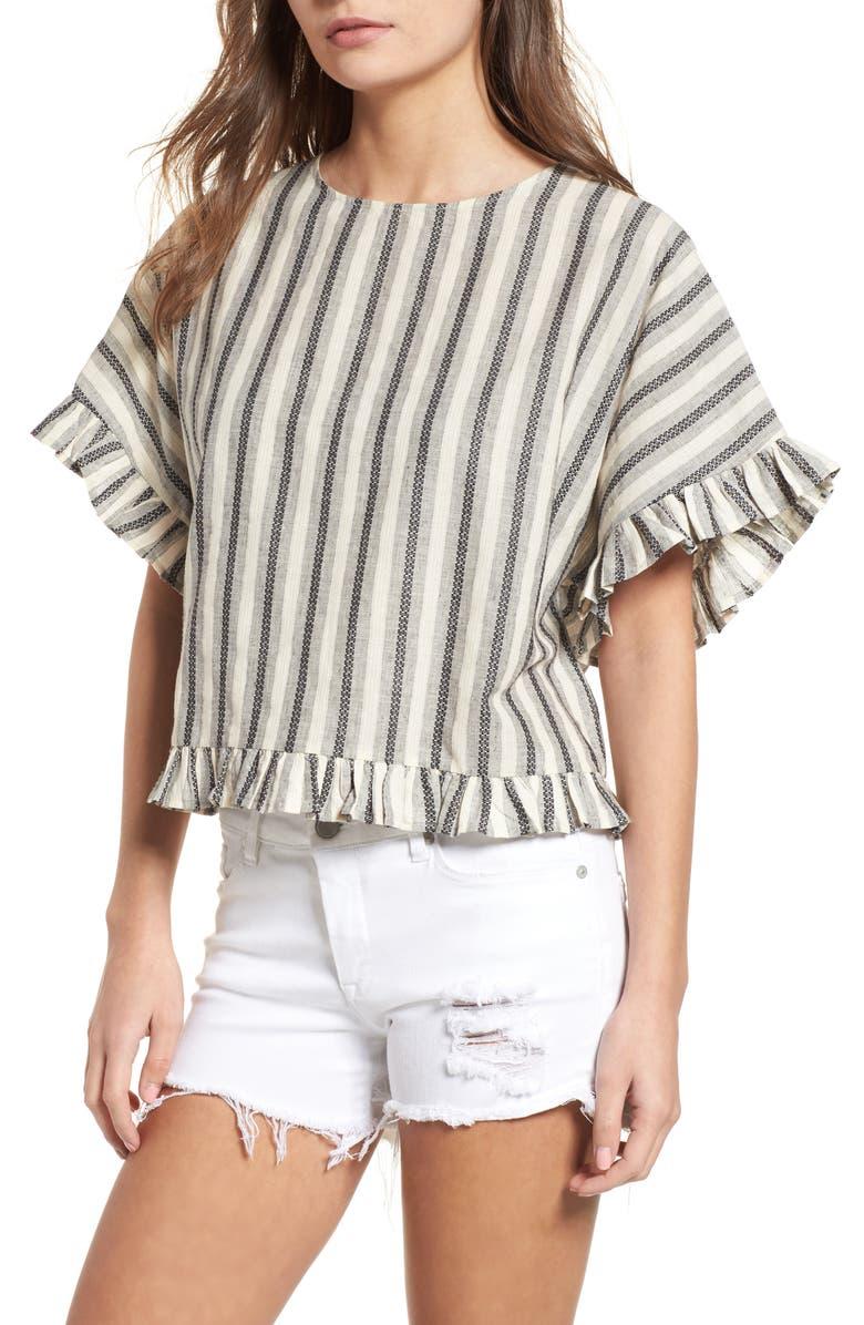 BP. Stripe Ruffle Trim Top, Main, color, 100