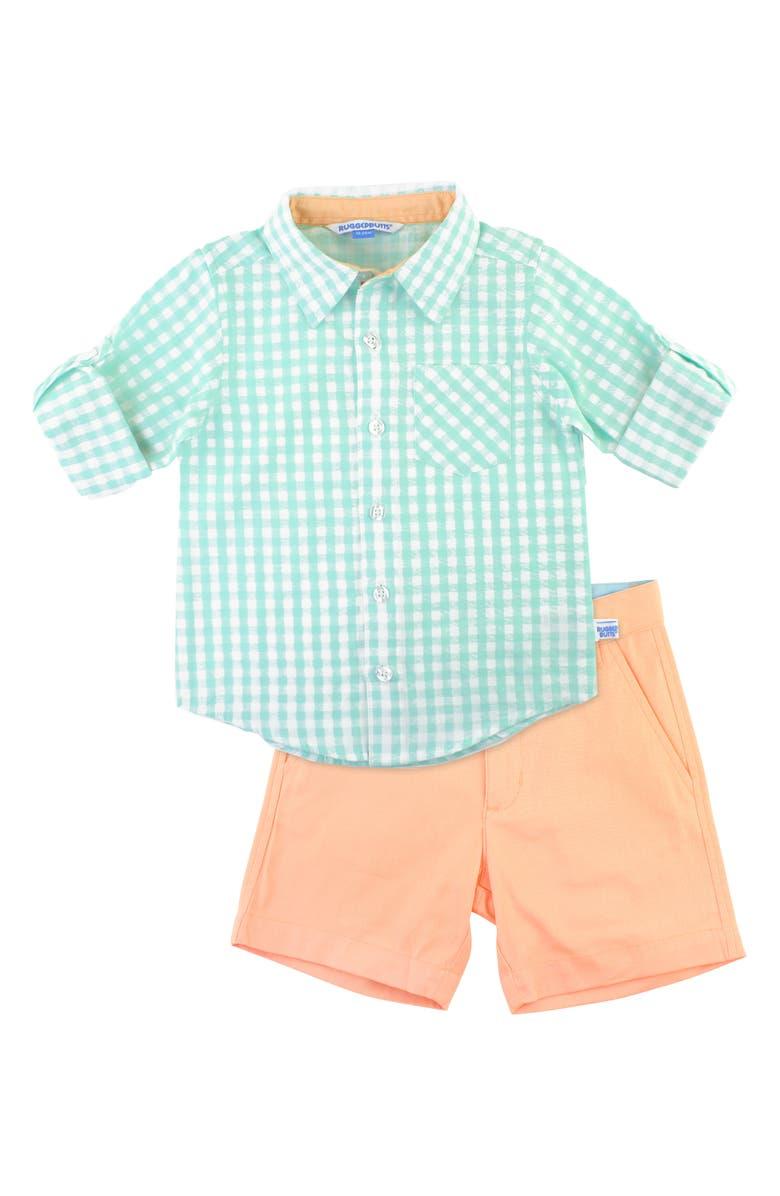 RUGGEDBUTTS Gingham Check Shirt & Shorts Set, Main, color, CORAL