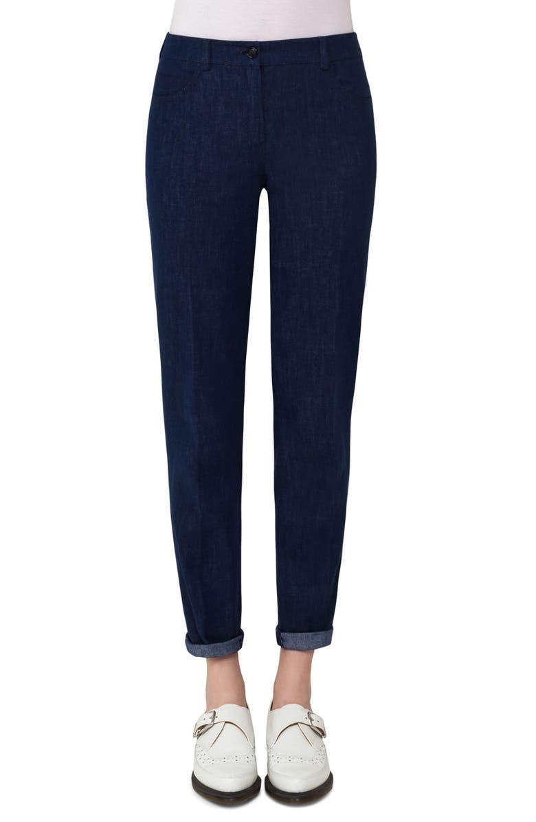 AKRIS Slim Stretch Denim Pants, Main, color, 400