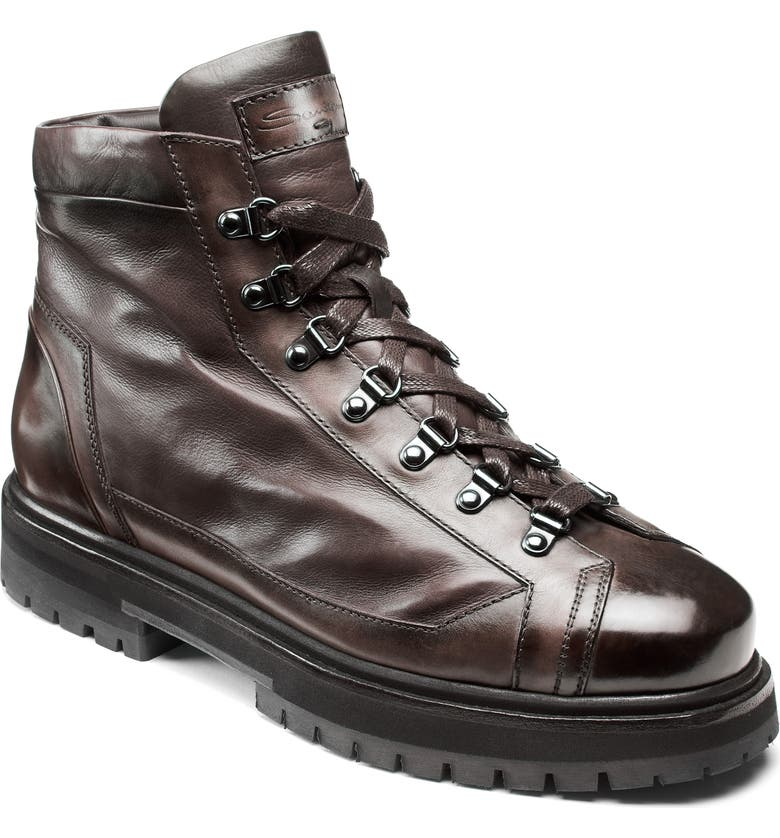 SANTONI March Boot, Main, color, BROWN LEATHER