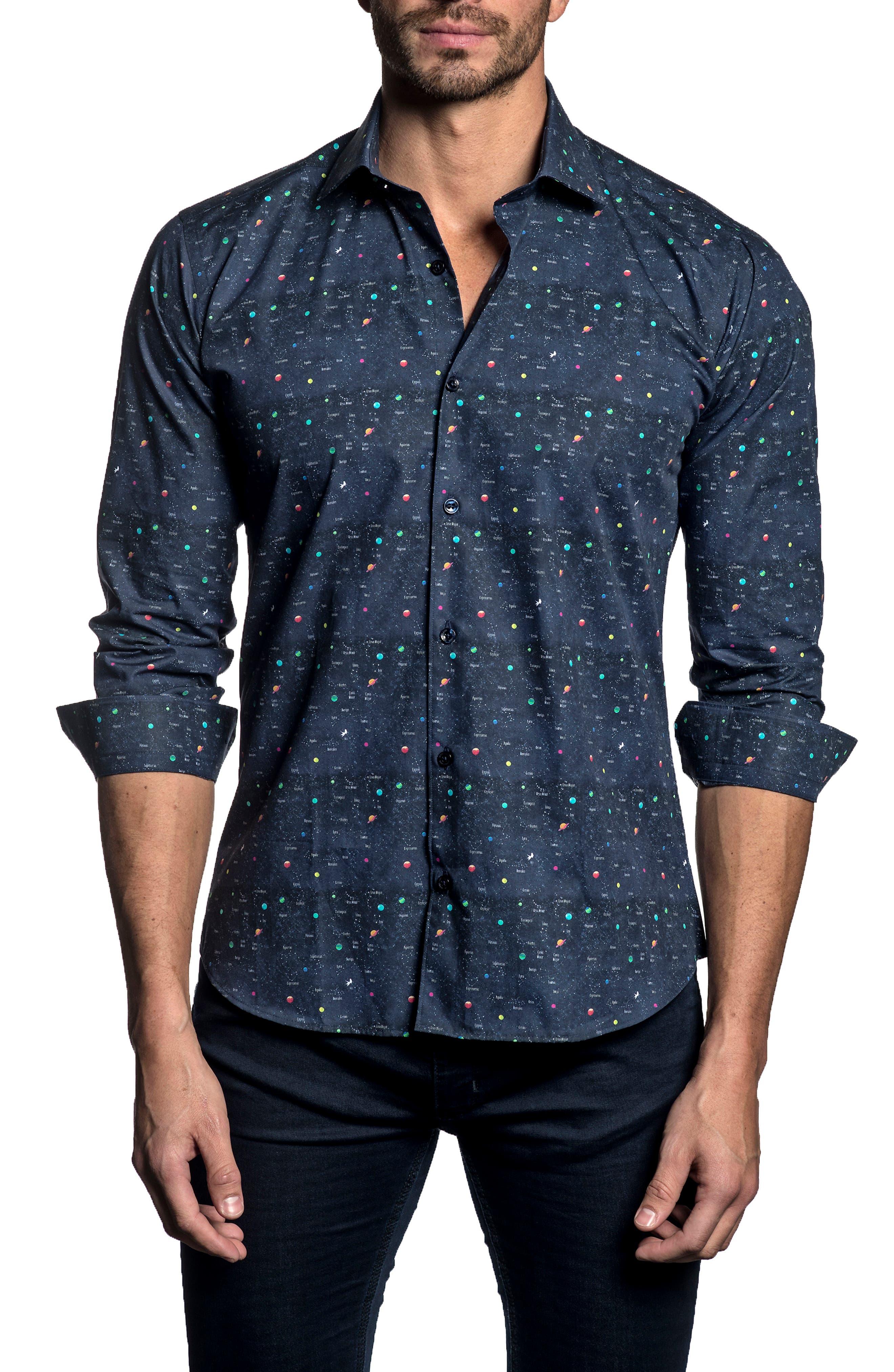 Trim Fit Constellation Button-Up Shirt