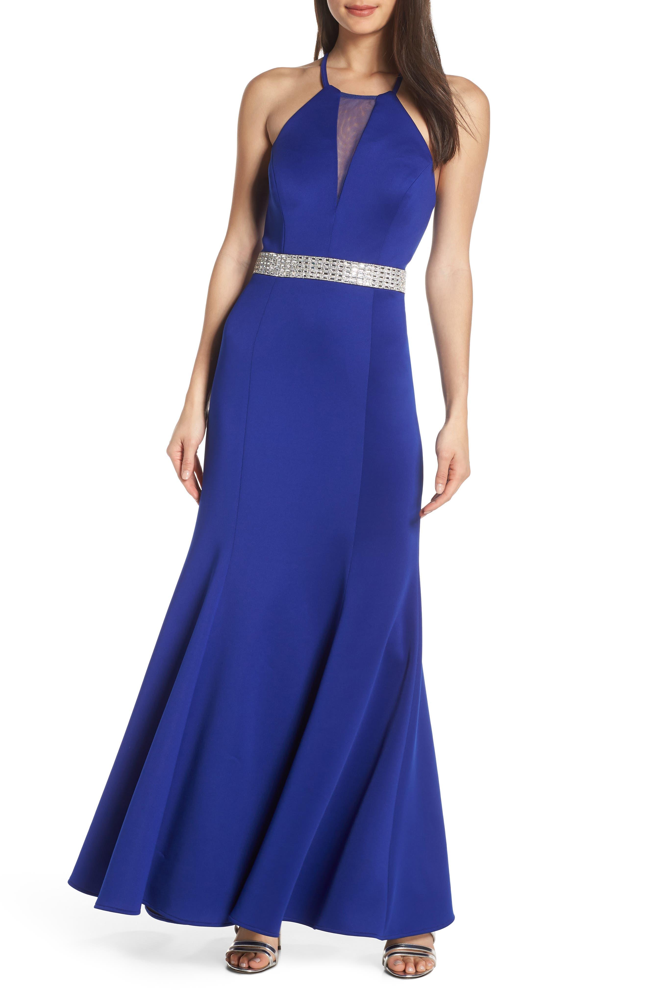 Morgan & Co. Jeweled Waist Scuba Crepe Evening Dress, Blue