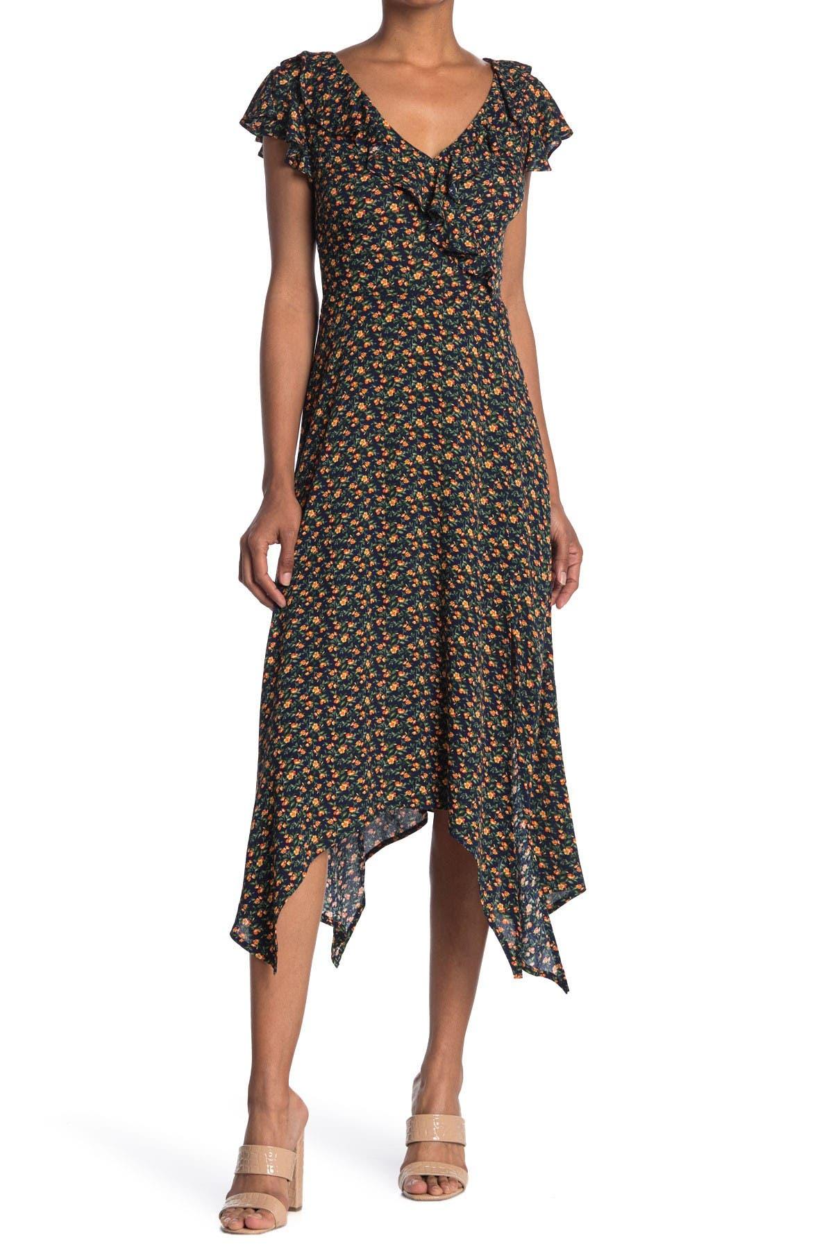 Image of KENEDIK Floral Ruffled Handkerchief Hem Midi Dress