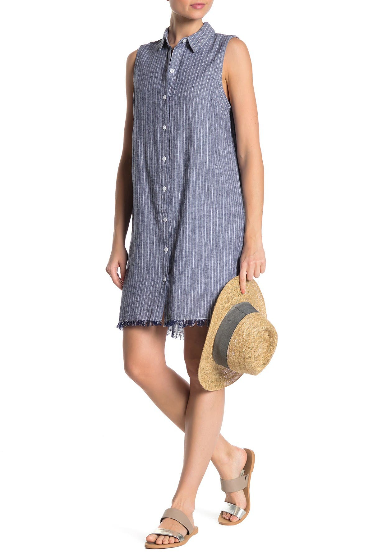 Image of BeachLunchLounge Striped Linen Blend Button Down Shirt Dress