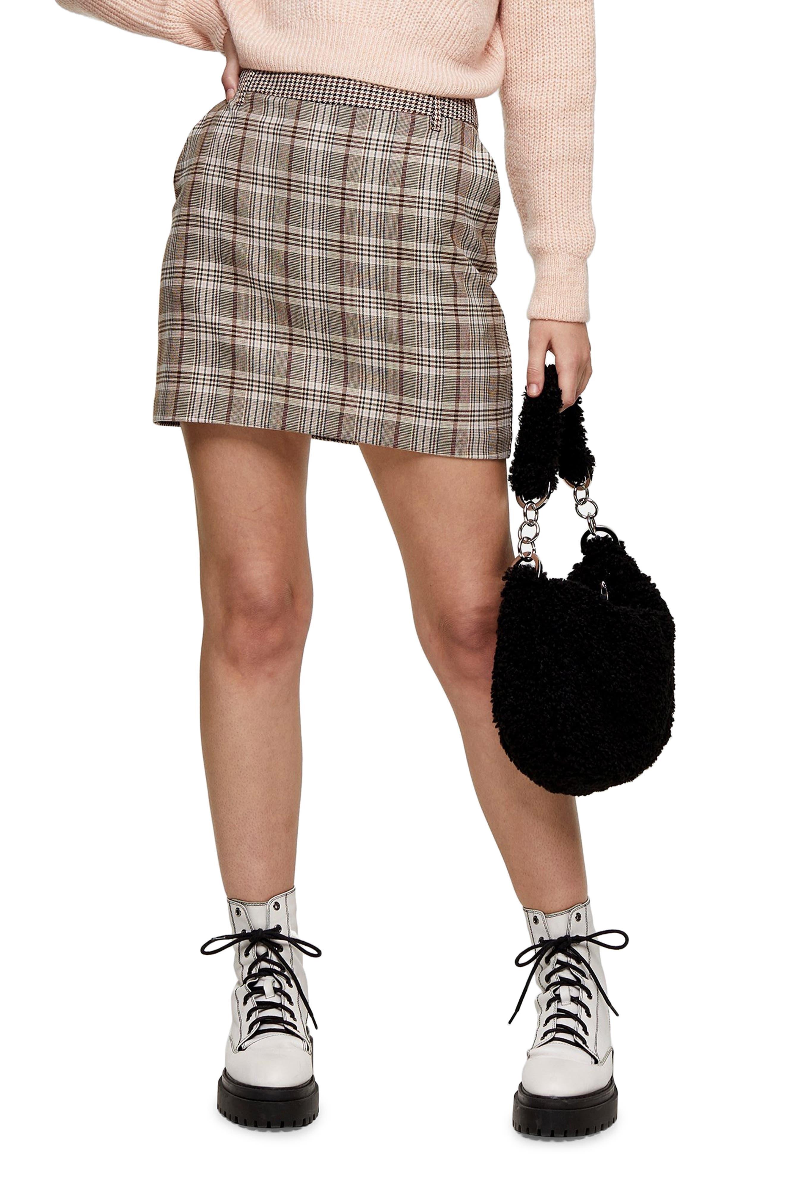 Image of TOPSHOP Jojo Mixed Plaid Mini Skirt