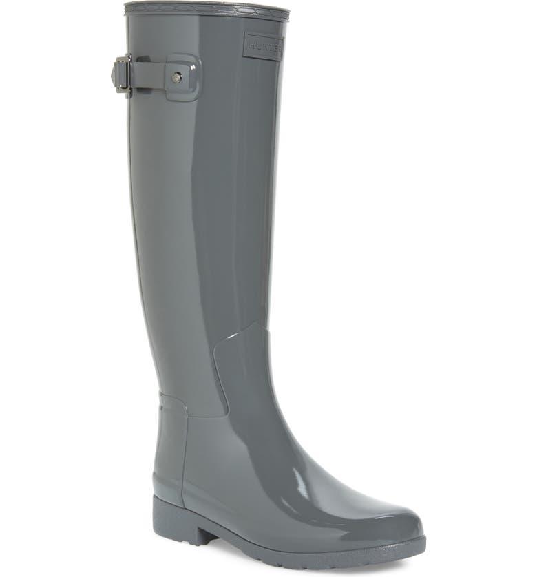HUNTER Original Refined High Gloss Waterproof Rain Boot, Main, color, STRATUS