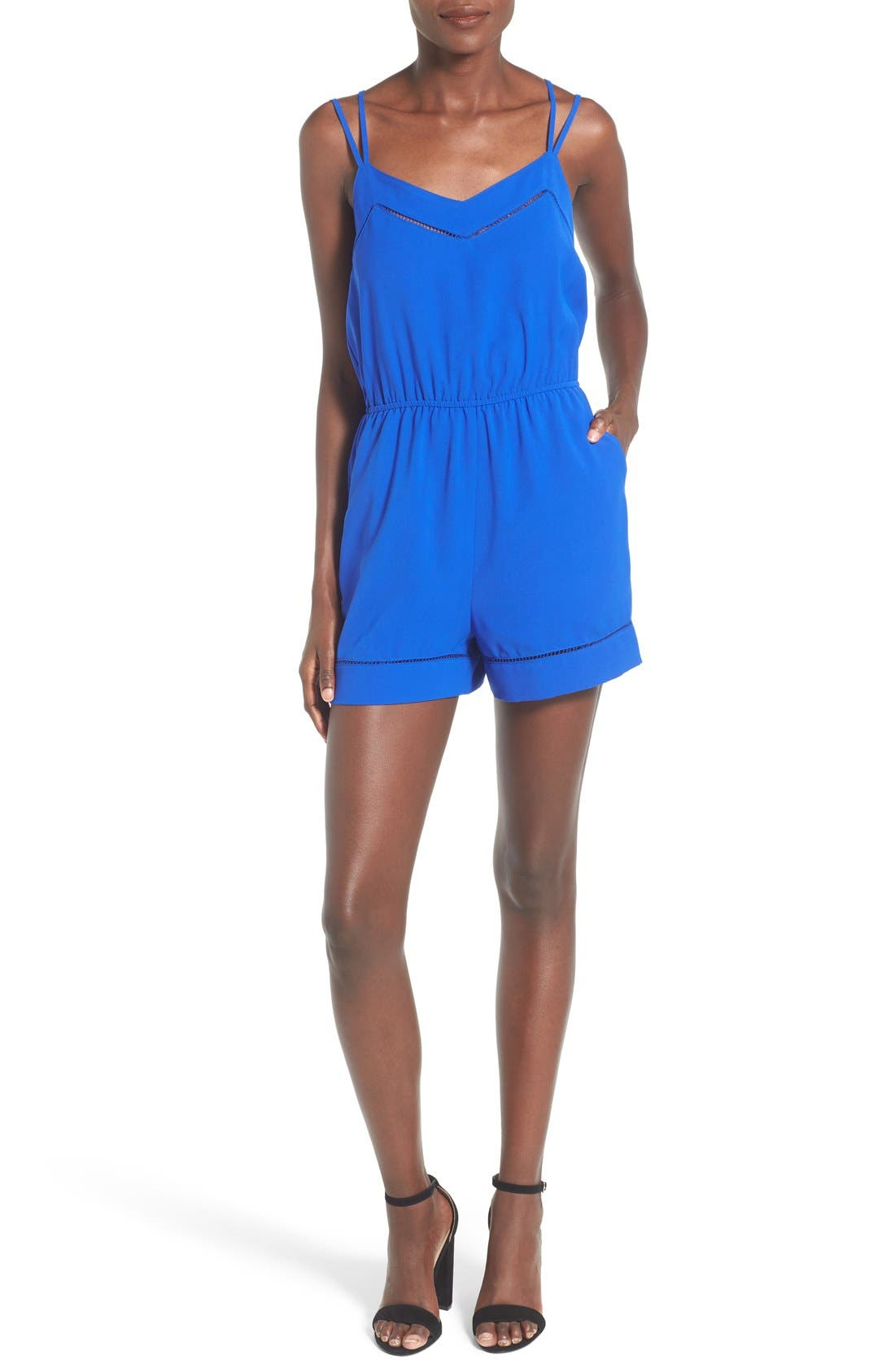 ,                             Strappy Woven Romper,                             Main thumbnail 1, color,                             405