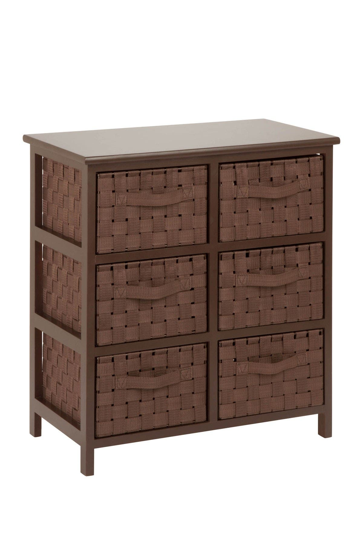 Image of Honey-Can-Do Java Brown Woven 6-Drawer Chest