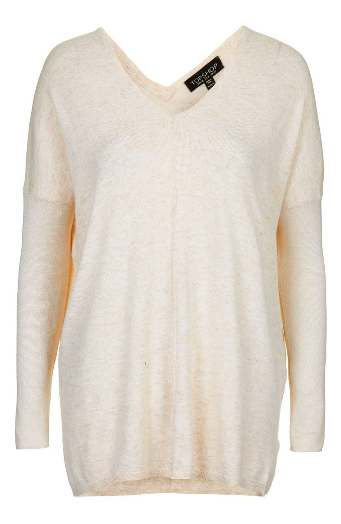 ,                             Front Seam V-Neck Sweater,                             Alternate thumbnail 15, color,                             900