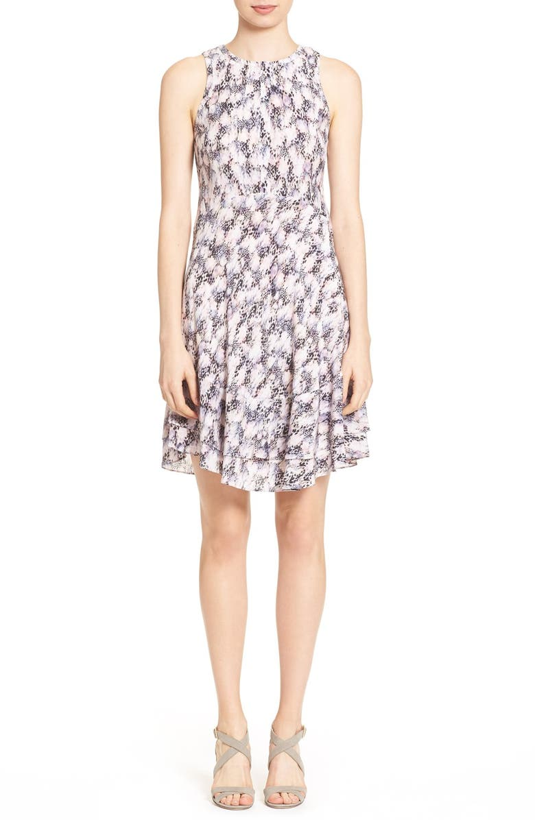 REBECCA TAYLOR Abstract Print Sleeveless Dress, Main, color, 199