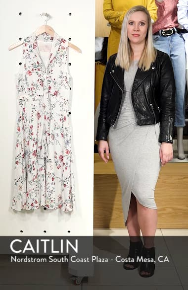 Alexis Delicate Blossom Print Tie Neck Dress, sales video thumbnail