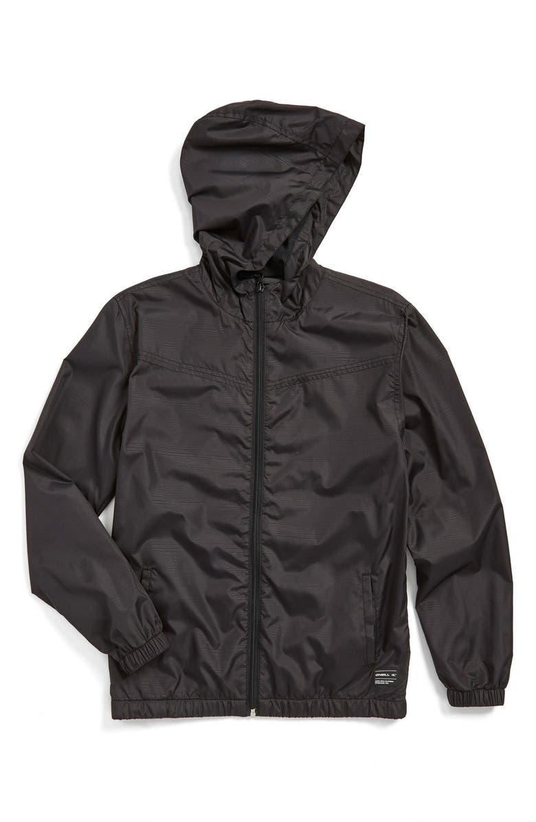 O'NEILL 'Traveler' Packable Hooded Windbreaker Jacket, Main, color, 001