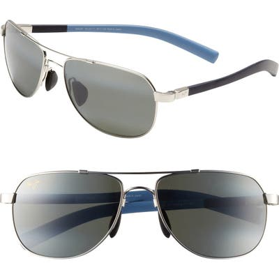 Maui Jim Maui Flex Polarizedplus2 5m Aviator Sunglasses - Silver/ Blue/ Light Blue