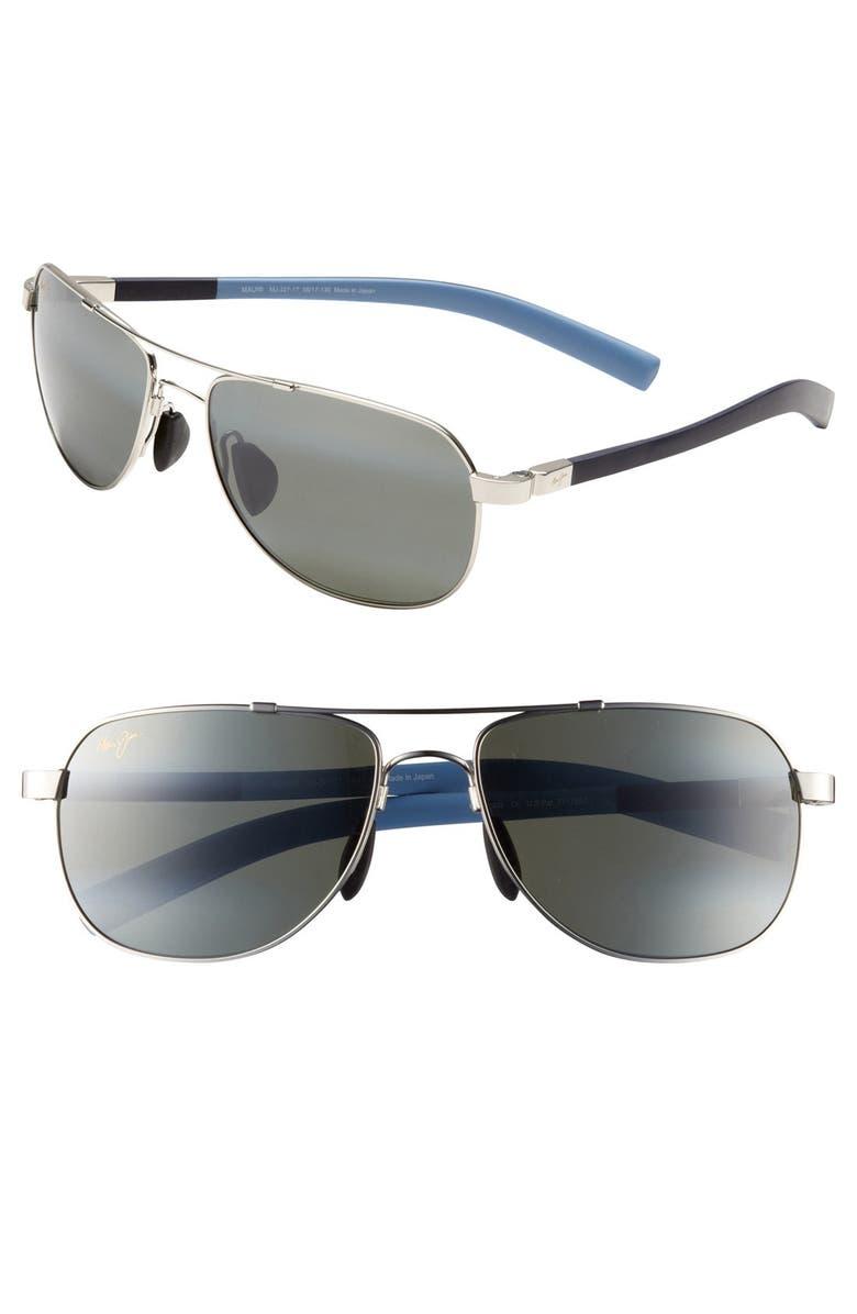 MAUI JIM 'Maui Flex - PolarizedPlus<sup>®</sup>2' 56mm Aviator Sunglasses, Main, color, SILVER/ BLUE/ LIGHT BLUE