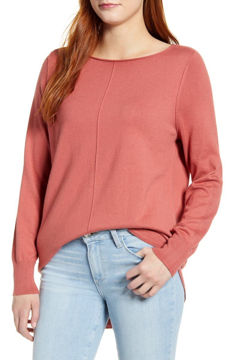 CASLON<SUP>®</SUP> Seam Detail Shirttail Tunic, Main, color, PINK CEDAR