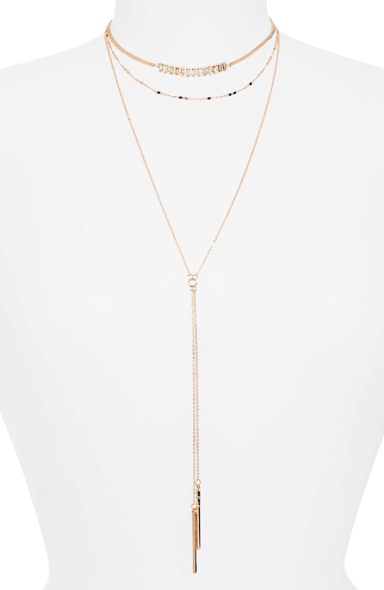 BP. Layered Y-Necklace, Main, color, GOLD