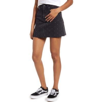Madewell Metallic Rainbow Dots Rigid Denim A-Line Miniskirt, Black