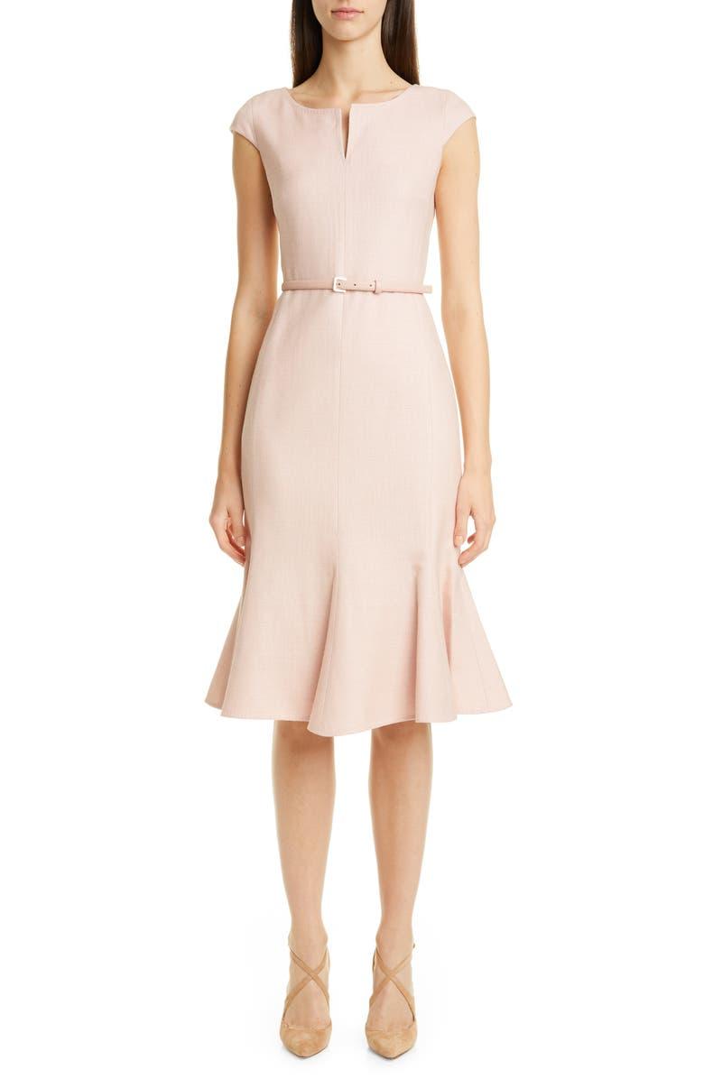 MAX MARA Otaria Flounce Hem Silk, Linen & Wool Dress, Main, color, PINK