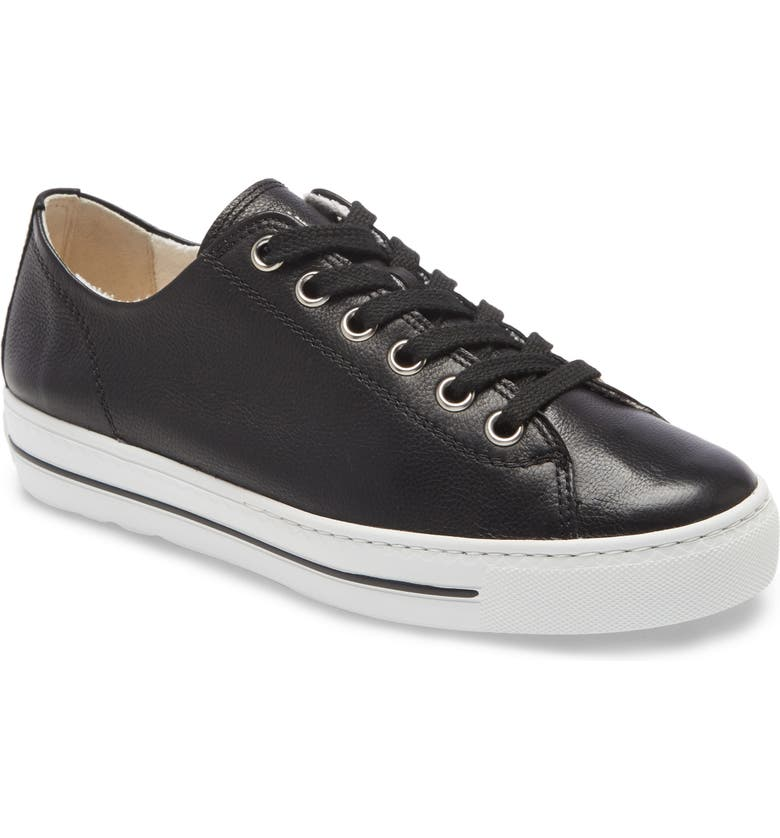 PAUL GREEN Ally Low Top Sneaker, Main, color, BLACK LEATHER