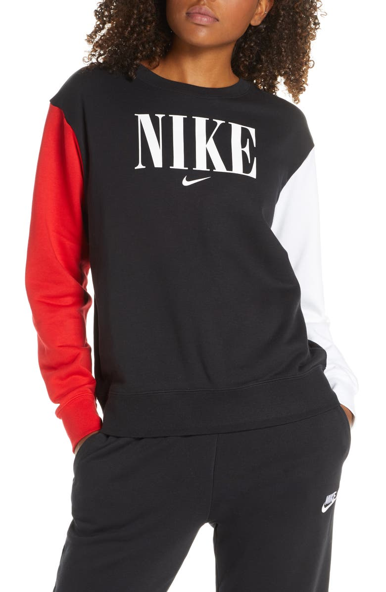 NIKE Sportswear Essential Colorblock Crewneck Sweatshirt, Main, color, BLACK/ UNIVERSITY RED/ WHITE