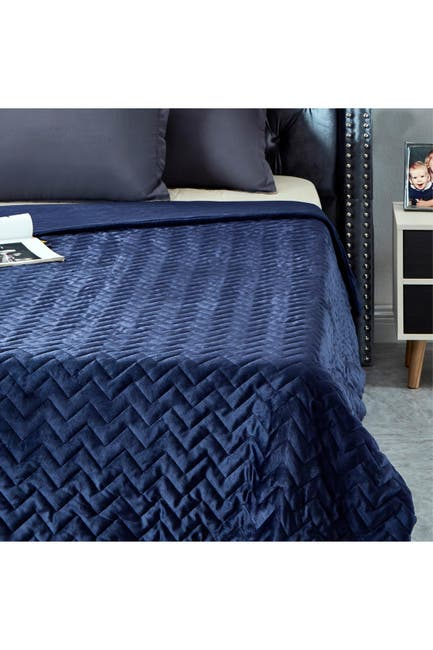 """Image of Inspired Home Cozy Tyme Eshe Weighted Blanket 15lbs 48"""" x 72"""" - Navy"""