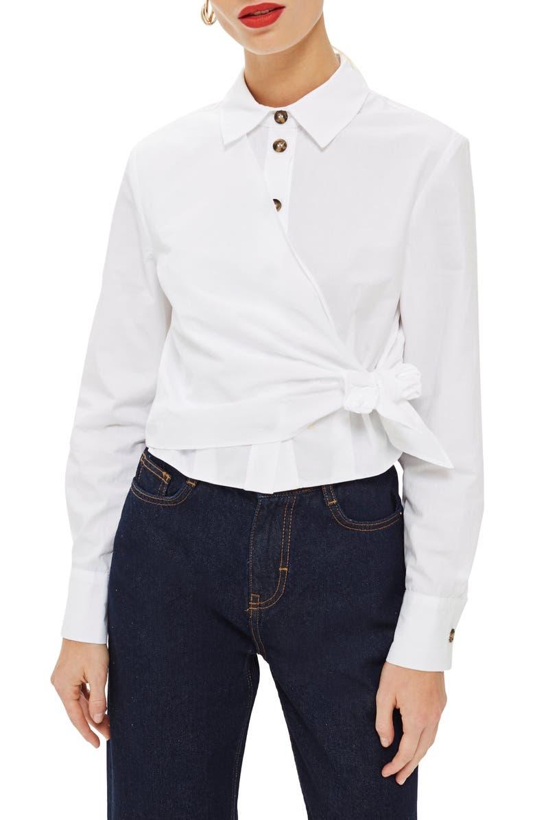 TOPSHOP Poplin Wrap Shirt, Main, color, 100