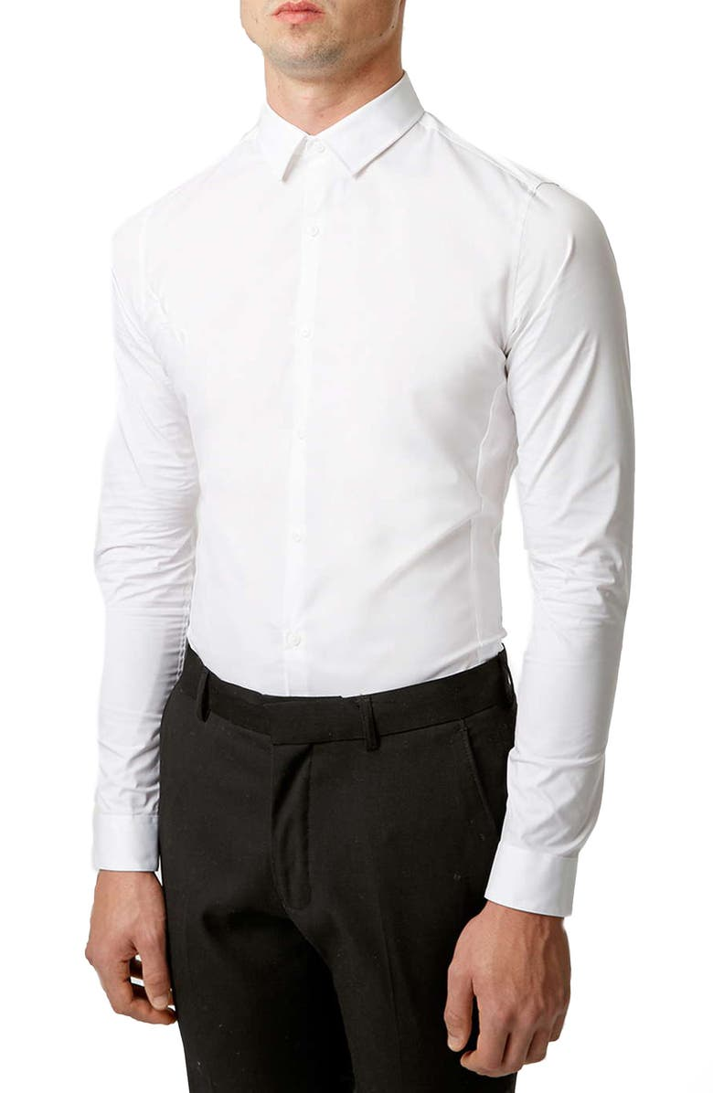 TOPMAN Stretch Skinny Fit Woven Shirt, Main, color, 100