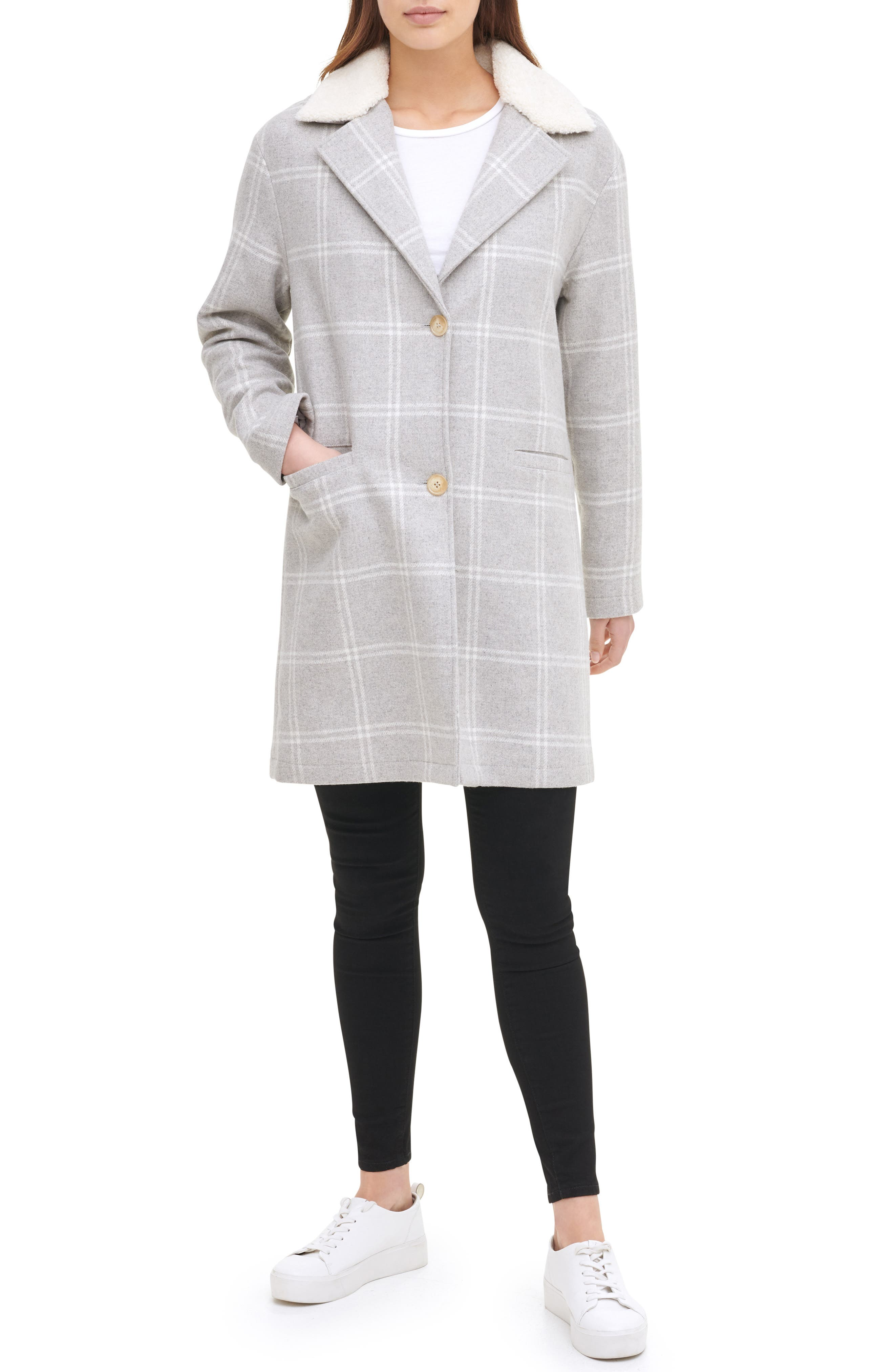 Levi's® Wool Top Coat with Faux Shearling Collar | Nordstrom