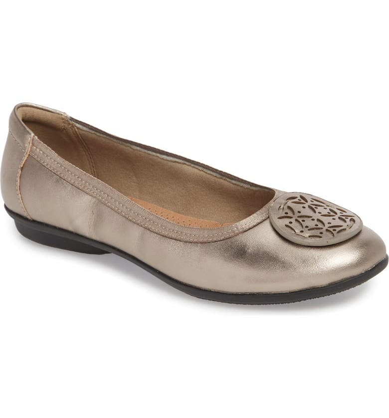 CLARKS<SUP>®</SUP> Gracelin Lola Flat, Main, color, PEWTER LEATHER