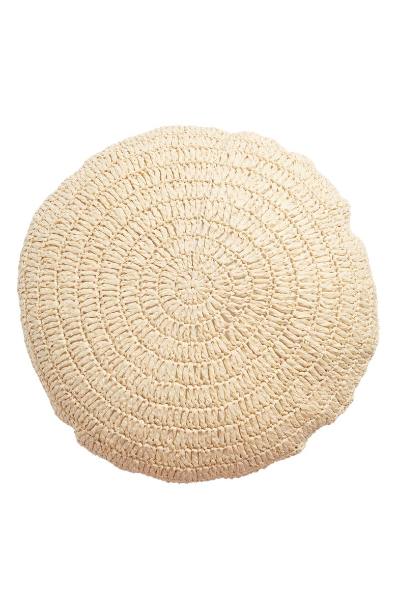 TREASURE & BOND Round Raffia Accent Pillow, Main, color, NATURAL