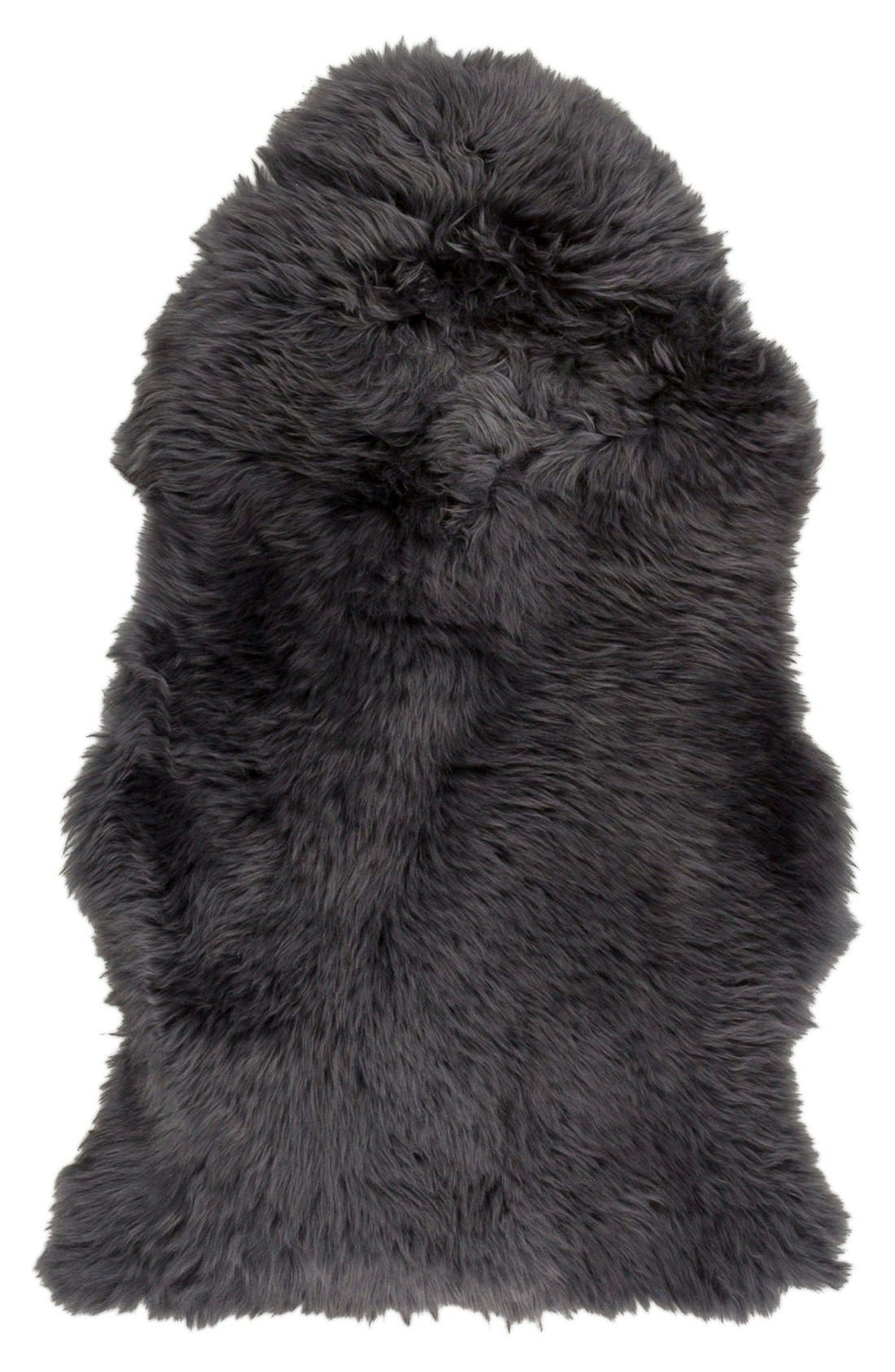 Genuine Shearling Rug, Main, color, GREY