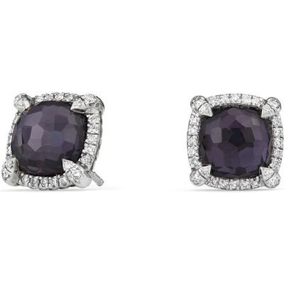 David Yurman Chatelaine Pave Bezel Earring With Black Orchid And Diamonds, m
