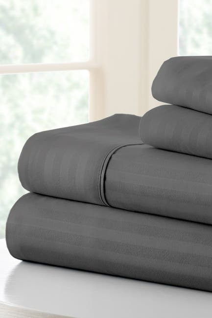 Image of IENJOY HOME Hotel Collection Premium Ultra Soft 4-Piece Striped Queen Bed Sheet Set -Gray