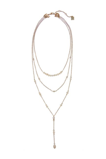 Image of Laundry By Shelli Segal Gold-Tone Convertible Necklace with 4-8mm Freshwater Pearls