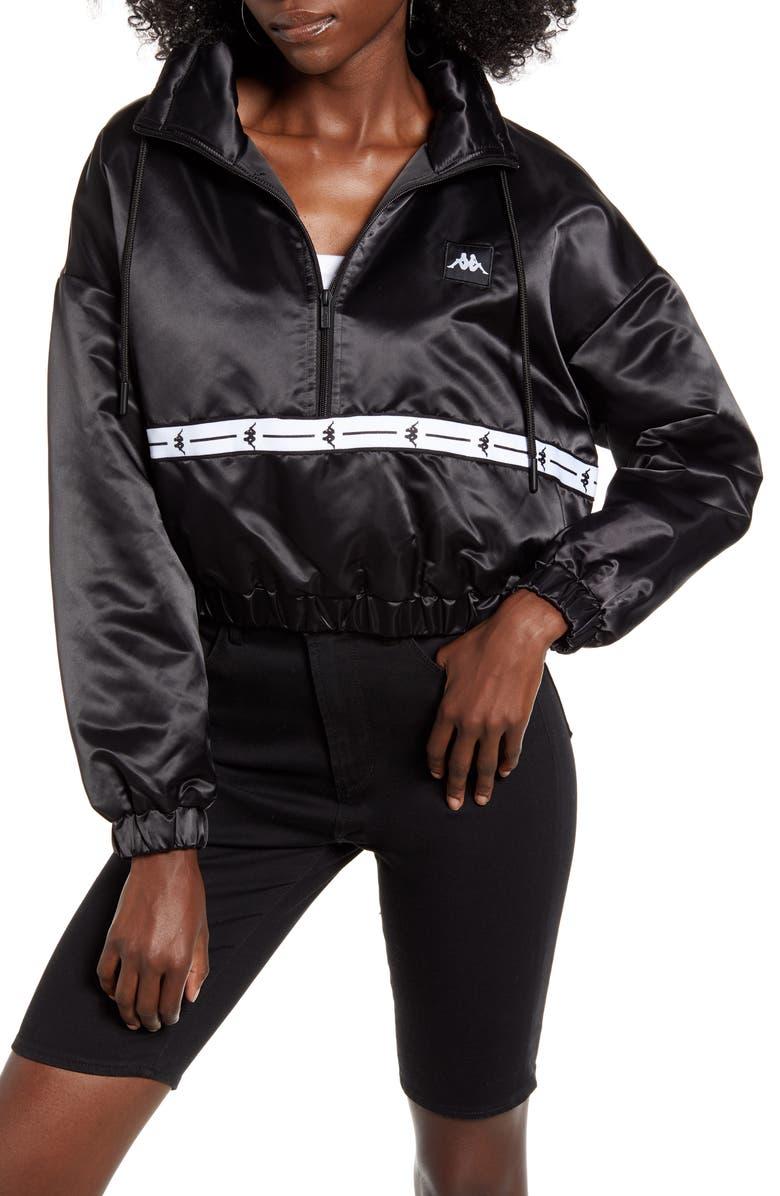 KAPPA Balti Crop Track Jacket, Main, color, BLACK/ WHITE