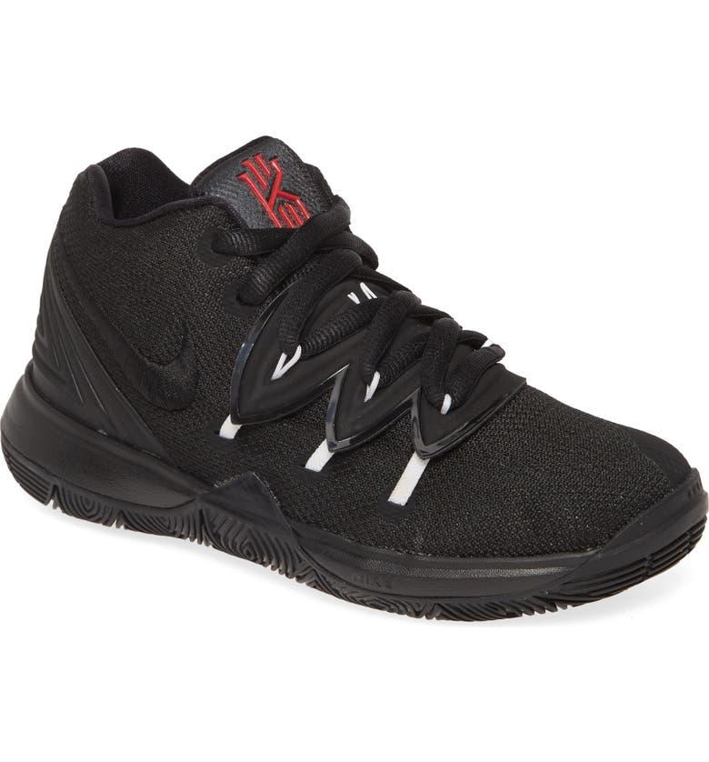 NIKE Kyrie 5 Basketball Shoe, Main, color, BLACK-WHITE-UNIVERSITY RED