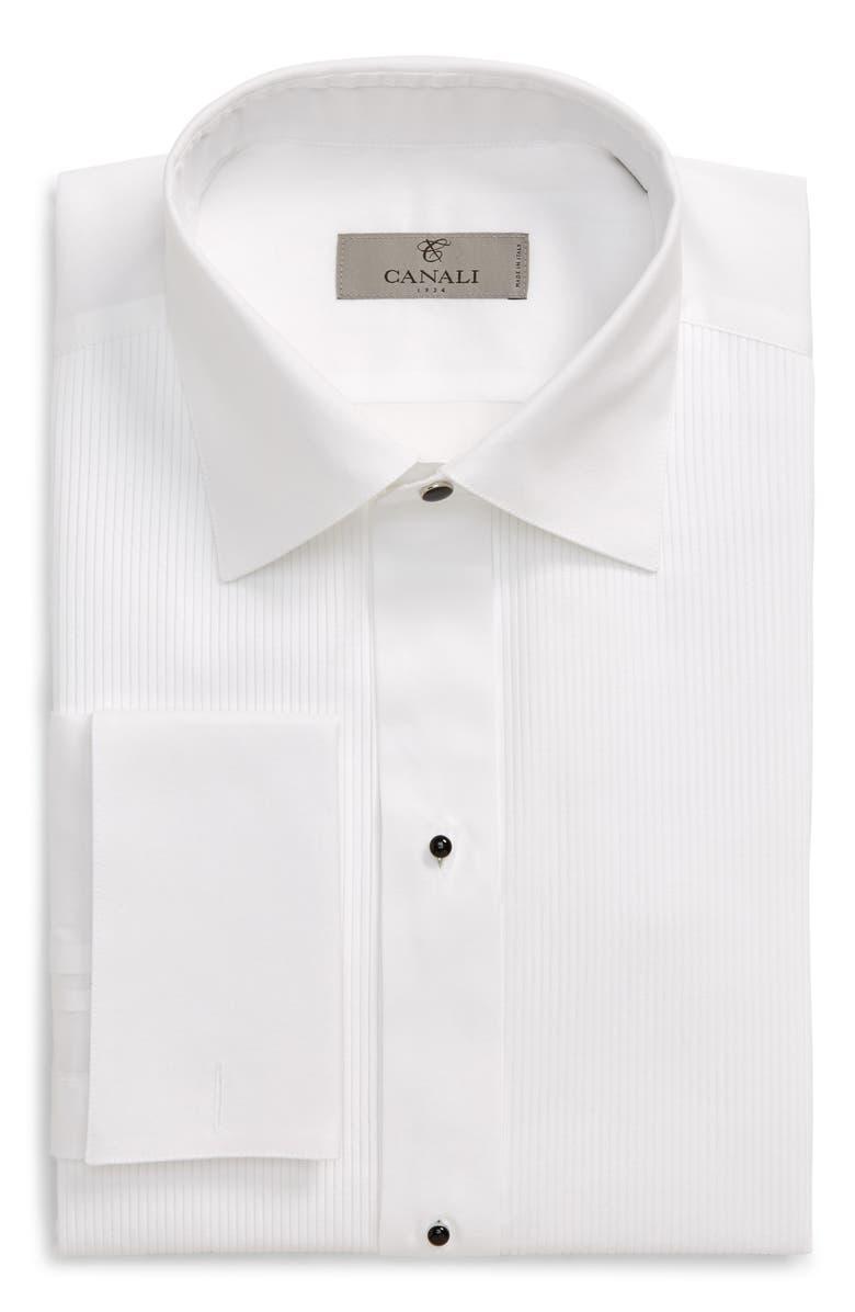CANALI Regular Fit Tuxedo Shirt, Main, color, WHITE