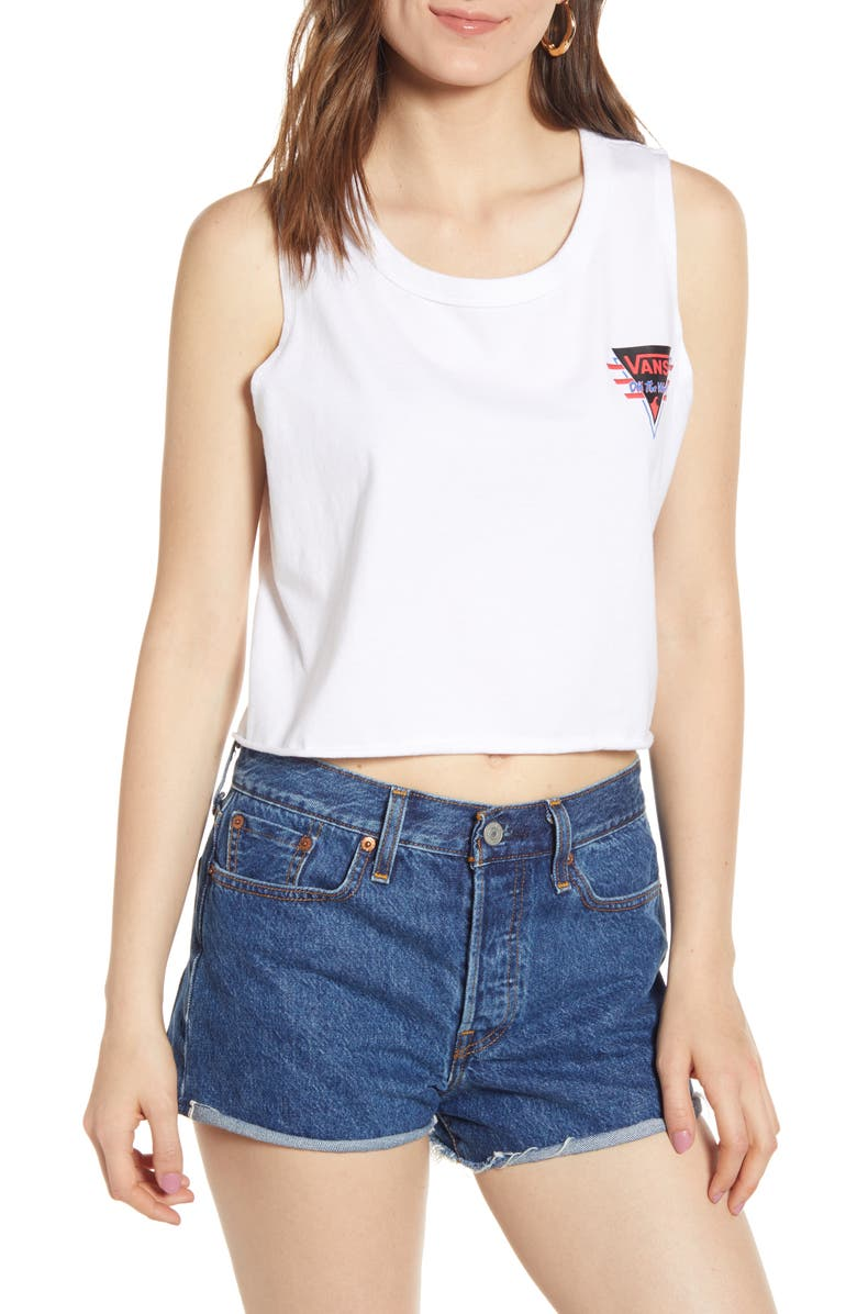 VANS Suma Time Crop Muscle Tank, Main, color, WHITE