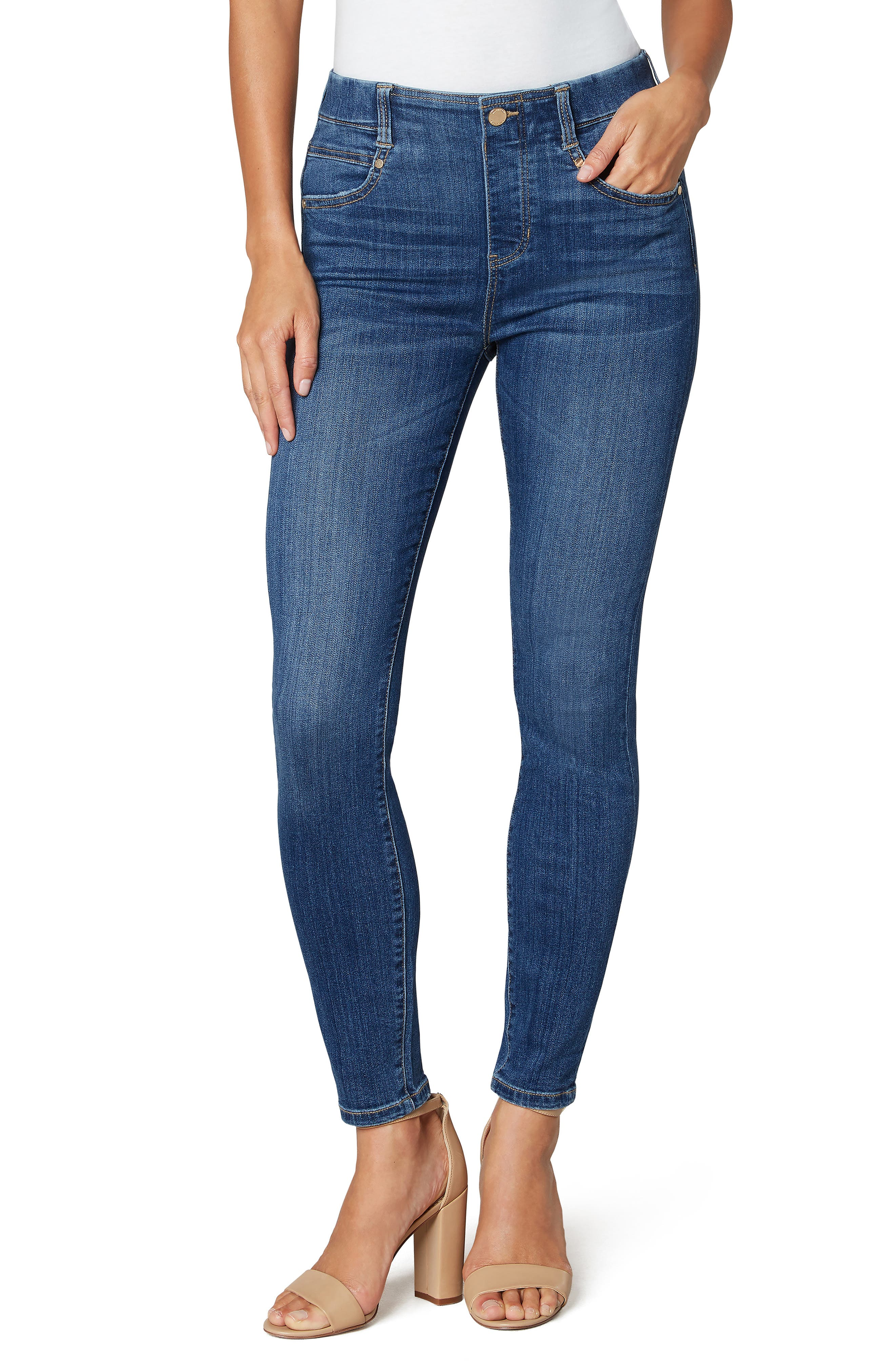 Gia Glider Pull-On Ankle Skinny Jeans