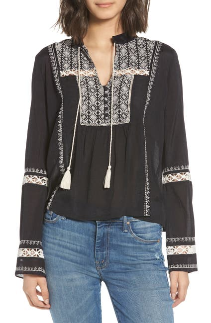 Image of Hinge Lace Inset Embroidered Top