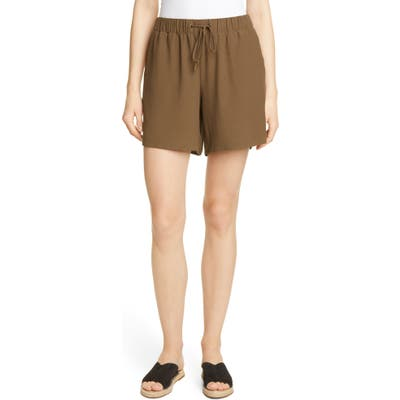 Eileen Fisher Drawstring Walking Shorts, Brown