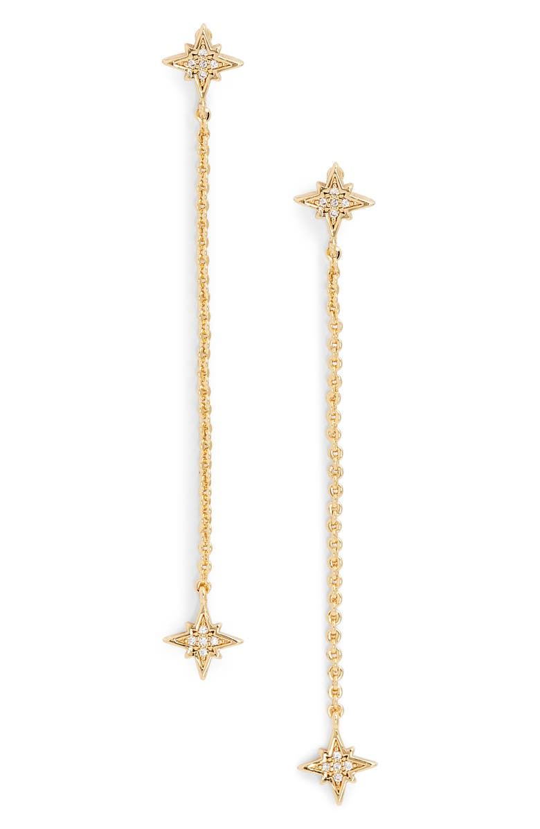 JULES SMITH Starry Eyed Linear Drop Earrings, Main, color, GOLD/ CLEAR