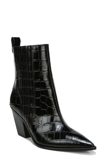 Veronica Beard SANAI POINTED TOE CROC EMBOSSED BOOTIE