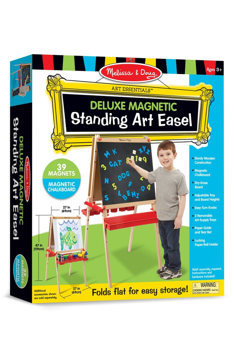 MELISSA & DOUG Wooden Easel with Chalkboard and Magnet Board, Main, color, 000