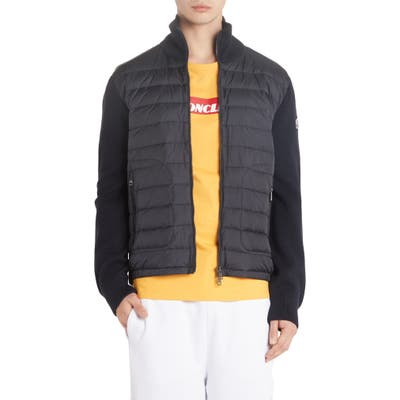 Moncler Mixed Media Down Jacket, Blue
